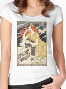 Vintage woman with harp and quill Women's Fitted Scoop T-Shirt