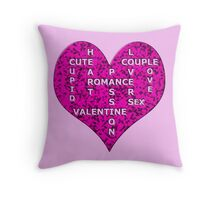 Hot Pink Marble Heart With Words Throw Pillow