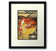 Vintage American art nouveau Bicycles ad Framed Print