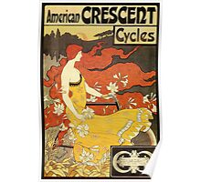 Vintage American art nouveau Bicycles ad Poster