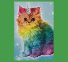 Unicorn Rainbow Cat Kitten Funny Kids Tee