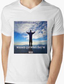 Winners Dont Quit Mens V-Neck T-Shirt