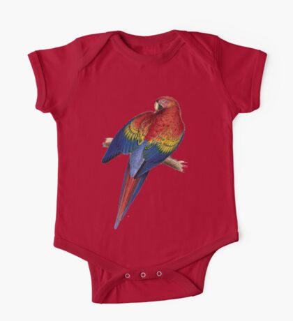 Illustration of A Scarlet Macaw Isolated On White One Piece - Short Sleeve