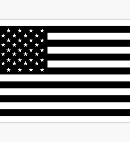 American Flag, STARS & STRIPES, USA, America, Black on white Sticker