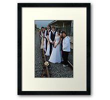 wedding party -  on the train track Framed Print
