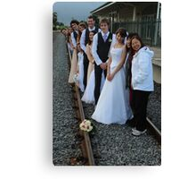 wedding party -  on the train track Canvas Print