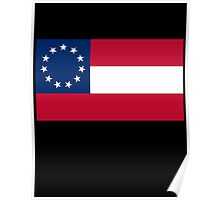 Stars & Bars, USA, America, First American National Flag, 11 stars, 1861, on black Poster