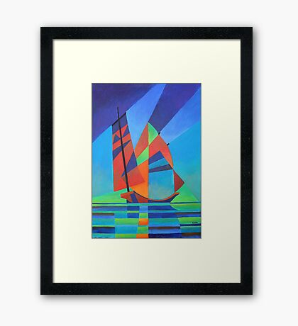 Cubist Abstract Junk Boat Against Deep Blue Sky Framed Print