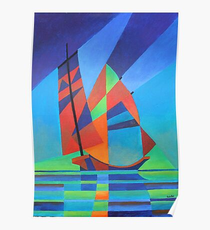 Cubist Abstract Junk Boat Against Deep Blue Sky Poster
