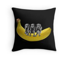 ❤‿❤ MONKEYS SIGN LANGUAGE SITTING ON BANANA THROW PILLOW & TOTE BAG ❤‿❤ Throw Pillow