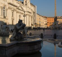 Roman Morning - Shadow and Light on Piazza Navona, Rome, Italy Sticker