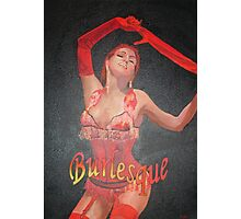 Burlesque Dancer Wearing Vintage Red Corset and Gloves Photographic Print