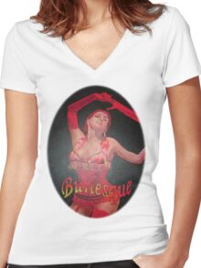 Burlesque Dancer Wearing Vintage Red Corset and Gloves Women's Fitted V-Neck T-Shirt