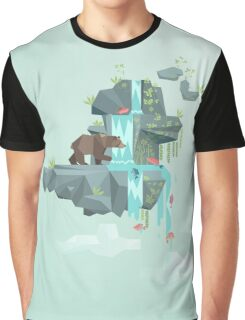 Low Poly Bear Fishing for Salmon Graphic T-Shirt