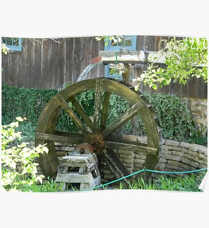 Water Power - Mill Water Wheel, Homestead, Tx. Poster