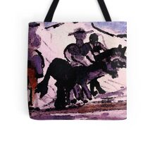 Enjoying a ride after the snow, watercolor Tote Bag