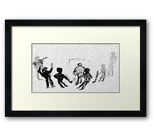 Kids playing Hockey in snow fall, watercolor Framed Print