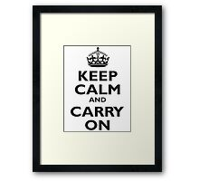 KEEP CALM, Keep Calm & Carry On, Be British! Blighty, UK, United Kingdom, Black on white Framed Print