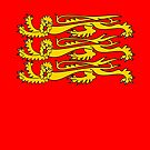 Three Lions, Royal Banner of England, England, 3 Lions, English, British, Britain, UK, RED by TOM HILL - Designer