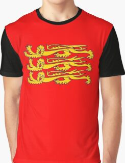 Three Lions, Royal Banner of England, England, 3 Lions, English, British, Britain, UK, RED Graphic T-Shirt