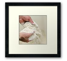 Baker sieves through the flour to check for lumps or contamination. Framed Print