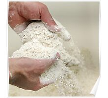 Baker sieves through the flour to check for lumps or contamination. Poster