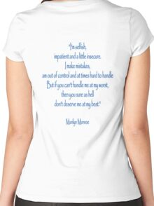 """Marilyn Monroe, """"I'm selfish, impatient and a little insecure."""" Monroe Women's Fitted Scoop T-Shirt"""