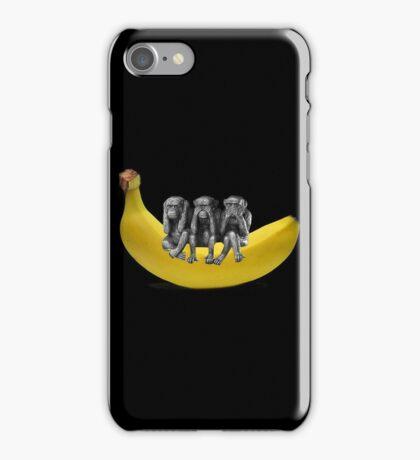 ❤‿❤ MONKEYS SIGN LANGUAGE SITTING ON BANANA THROW PILLOW & TOTE BAG ❤‿❤ iPhone Case/Skin