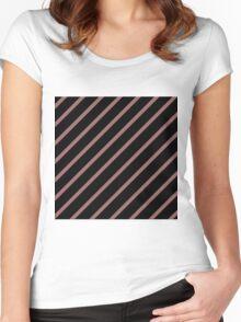 Beautiful Cushions/Stripe/Black Marsala Women's Fitted Scoop T-Shirt