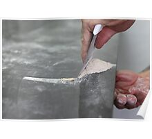 Baking Concept - flour is spread on the kneading surface Poster