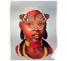 African Butterfly Mask Poster