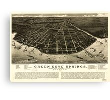 Panoramic Maps Green Cove Springs county seat of Clay County Florida 1885 Canvas Print