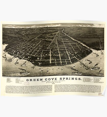Panoramic Maps Green Cove Springs county seat of Clay County Florida 1885 Poster