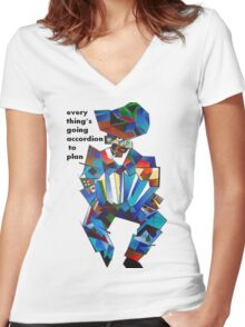 Everything's Going Accordion To Plan Women's Fitted V-Neck T-Shirt