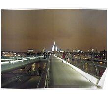 Millennium Bridge and St Paul's illuminated Poster