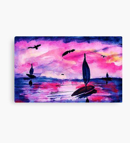 Sunrise on the seas, watercolor Canvas Print