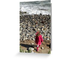 Pink on Pebble Beach, Girl Throwing Stones, Los Angeles Greeting Card
