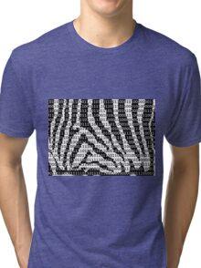 Black and White Zebra Binary Code Tri-blend T-Shirt
