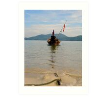 Long Boat anchored Art Print