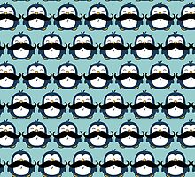 Penguin Mustache Trend Pattern by ironydesigns