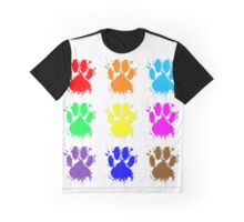 Ink Splatter Dog Paw Pattern Graphic T-Shirt