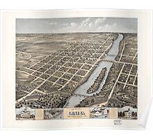 Panoramic Maps Bird's eye view of Geneva Kane County Illinois 1869 Poster
