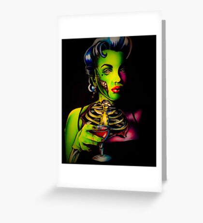 Zombie Horror Marilyn Blood Martini Greeting Card