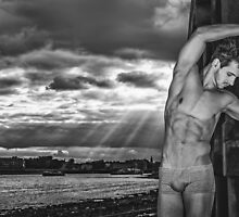 Dramatic Sky with Hot Model on the Thames in London  by GrahamMartin