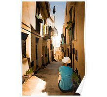 small sicilian street with sitting girl - paint edit Poster