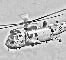 RAF Sea King Search and Rescue Helicopter Pencil Sketch by Steve Purnell