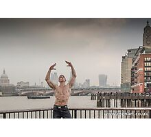 Dramatic Sky with Hot Model on the Thames in London Mark in colour Photographic Print
