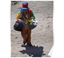 Sad Clown at the Beach - Payaso triste en la Playa Poster