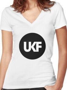 UKF-Black and White Women's Fitted V-Neck T-Shirt