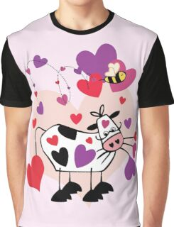 Cow Love with a Bumble Bee Graphic T-Shirt